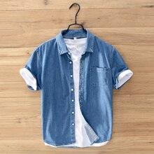 Summer Fashion Men Shirts Blue Color Lapel Collar Short Sleeve Cotton Denim Vintage Designer Loose Casual Tee Shirt