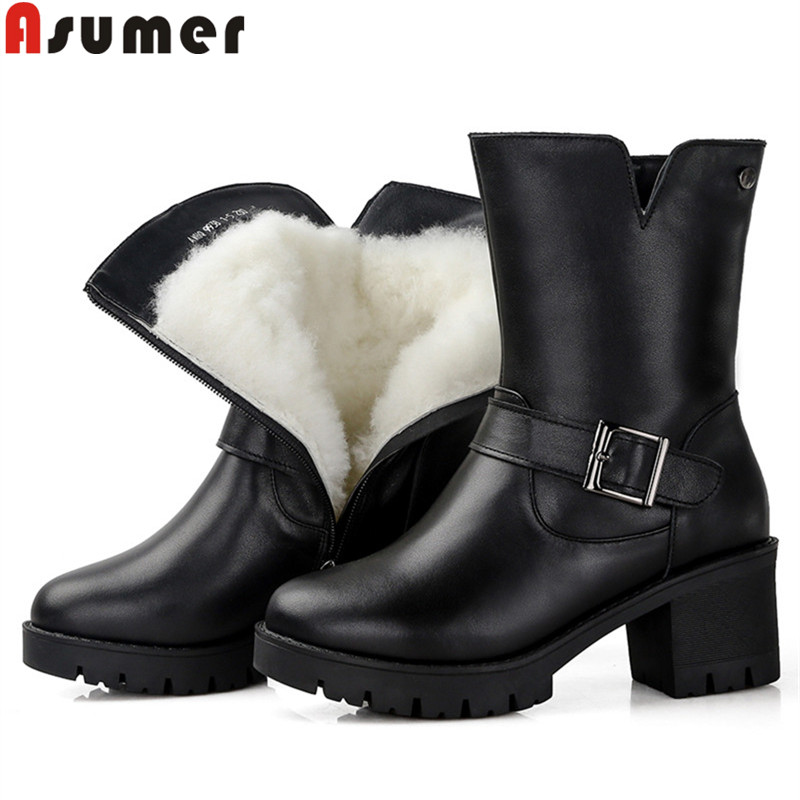 ASUMER big size 35-43 fashion winter boots round toe zip buckle genuine leather boots square heels wool keep warm ankle boots цены онлайн