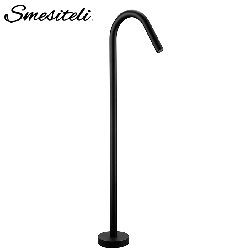 Smesiteli New Simple Style 100% Brass Chrome Or Matte Black Finish Floor Mount Bathroom Bath Tub Filler Freestanding Faucet TapSmesiteli New Simple Style 100% Brass Chrome Or Matte Black Finish Floor Mount Bathroom Bath Tub Filler Freestanding Faucet Tap
