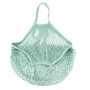 Image 2 - Handbag 2019 New Mesh Net Turtle Bag String Shopping Bag Reusable Fruit Storage Handbag Totes
