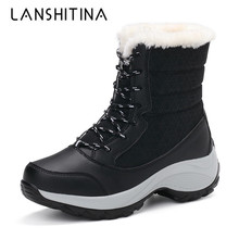 все цены на 2019 Women Snow Boots Winter Warm Boots Thick Bottom Platform Waterproof Ankle Boots For Women Thick Fur Cotton Outdoor Shoes онлайн