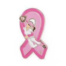 PBR214(1), медный Софтбол для девочек, розовая лента с раком груди, рекламная акция, эмалированная брошь, значок