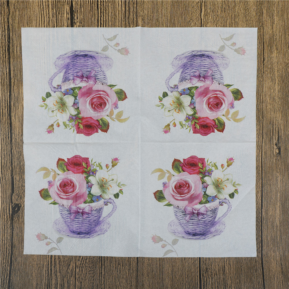 20Pcs/lot New Floral Flower Theme Paper Napkins Tissue Napkins Decoupage Decoration Festive Party Supplies 33x33cm