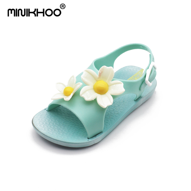 Mini Melissa 3D Flowers Cute Girls Jelly Sandals 2018 New Melissa Girls Shoes High Quality Melissa Toddler Sandals 15cm-17.5cm