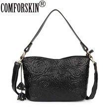 COMFORSKIN Genuine Leather European And American Travelling Shoulder Bag 2019 New Embossing Flower Large Capacity Cross-body