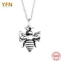 YAFINI Abelha Atacado Encantos Jóias 925 Sterling Silver 3D Bumble Bee Colar Mulheres Colar de Pingente de Prata Antigo GNX8770