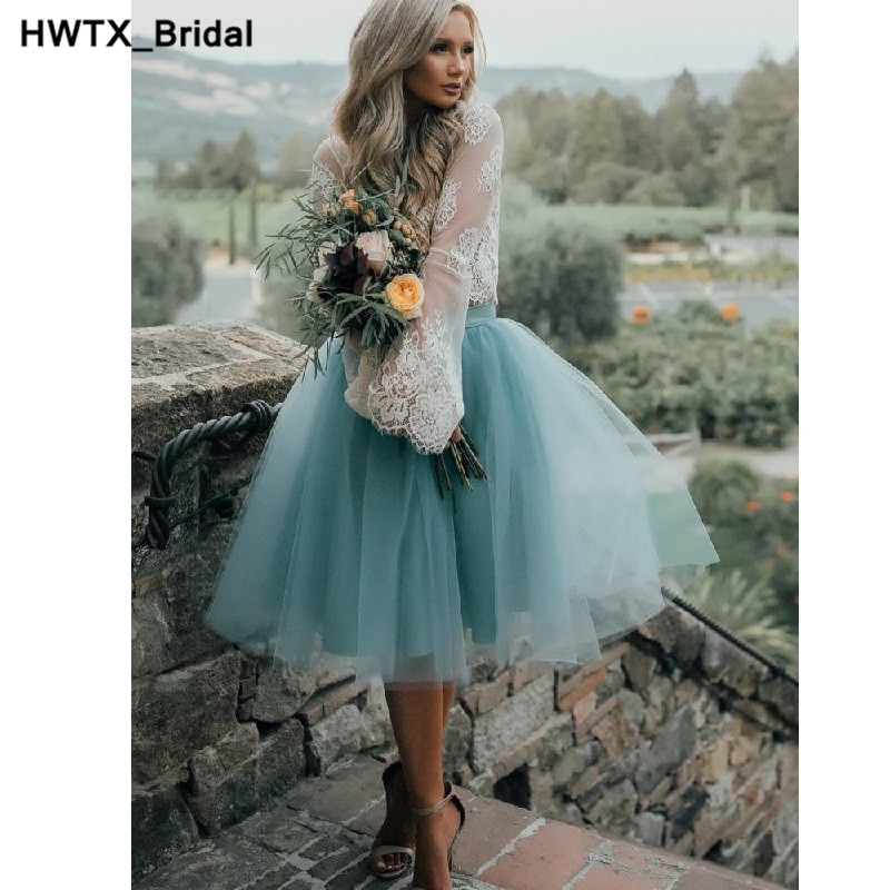 Long Sleeves   Bridesmaid     Dresses   Sexy Two Pieces   Bridesmaid     Dress   Tulle robe demoiselle d'honneur Knee Length Formal Party Gowns