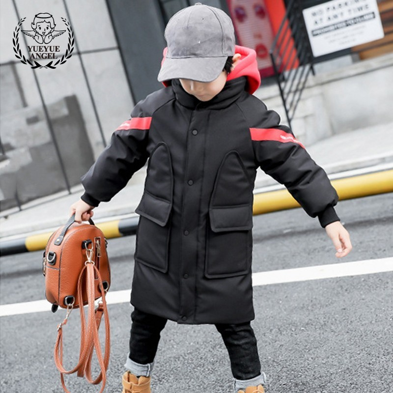 Winter Thicken Coat Boy Long Parkas Black Cotton Jacket For Boy Warm Hooded Snowsuit Boys Overcoat High Quality Child Outerwear цена