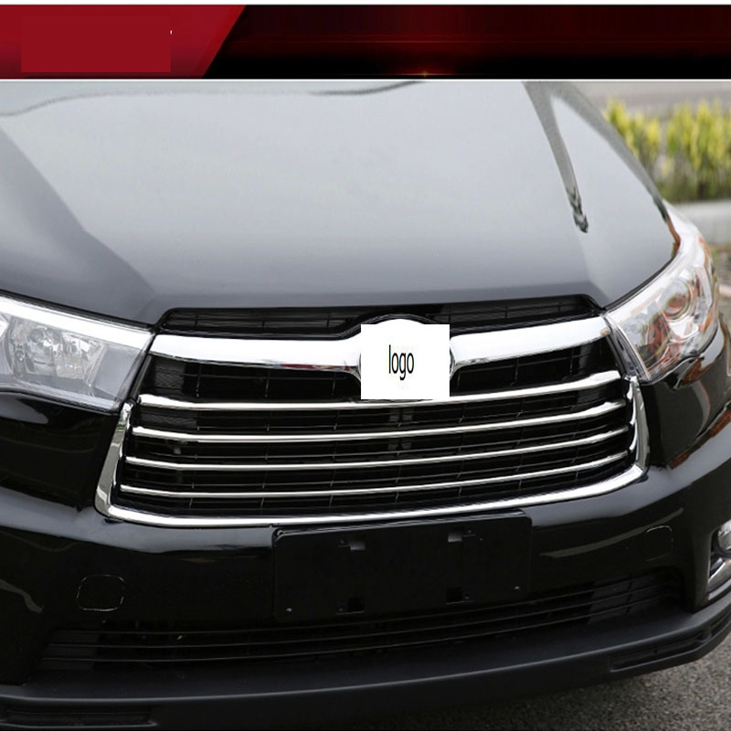 High Quality ABS Chrome Front Bumper Grille Trim For Toyota For Highlander 2015 Car Body Kit