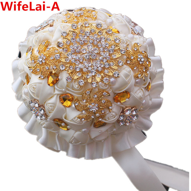 Gold Brooch Ivory Cream Wedding Bouquet de Mariage Polyester Bridal Wedding Bouquet Pearl Artificial Flower buque de noiva PL002