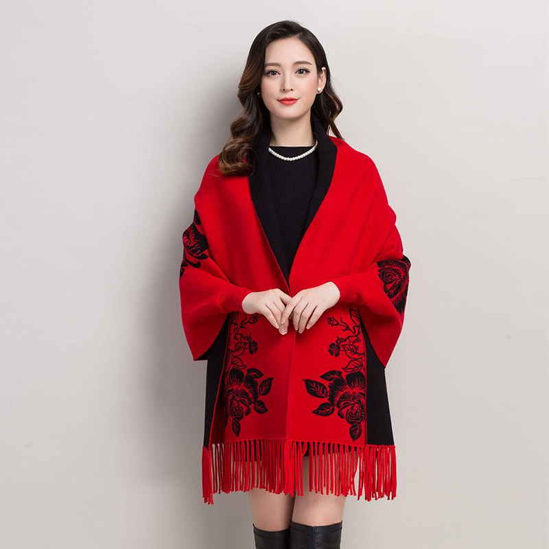 gray Long Gland Pivoine Poncho Cardigans navy souris Chaud khaki Femelle red Hiver Red Tricoté rose Green Cardigan Classique Broderie Automne Black army Chauve Femmes Manches Chinois UrawXdrq