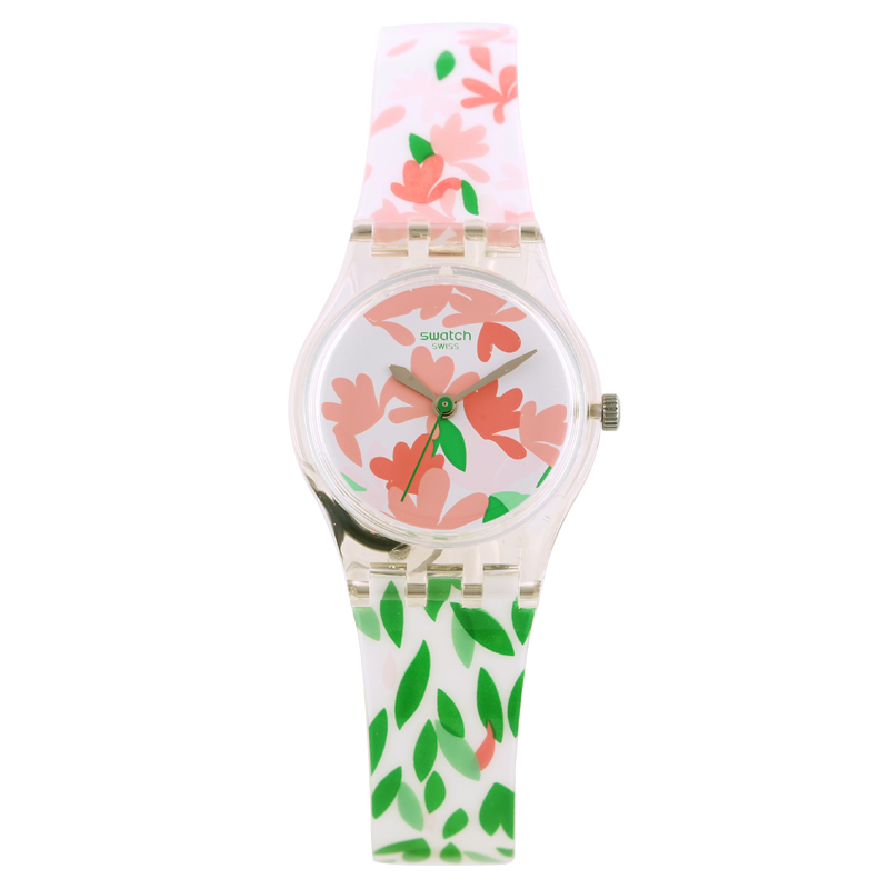 Swatch Spring flowers and leaves ladies quartz watch LK355 color block plaid dress