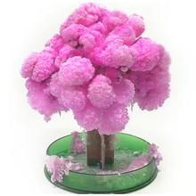 2019 13cm Visual Magic Artificial Sakura Trees Decorative Growing DIY Paper Tree Novelty Baby Toys Flower Desktop Cherry Blossom