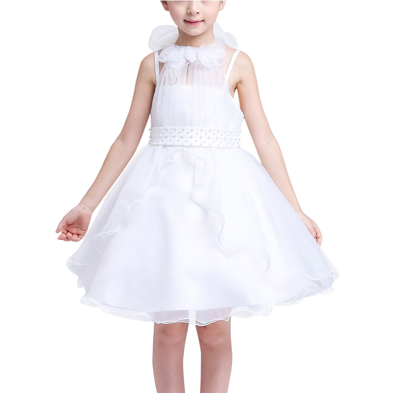 5-16Y Teenagers Girls Performance Dresses White Lace Flower Girl Wedding Party Dress Children Bridesmaid Princess Formal Costume cute flower girl dresses white with rose petal dress wedding easter bridesmaid for baby children toddler teen girls