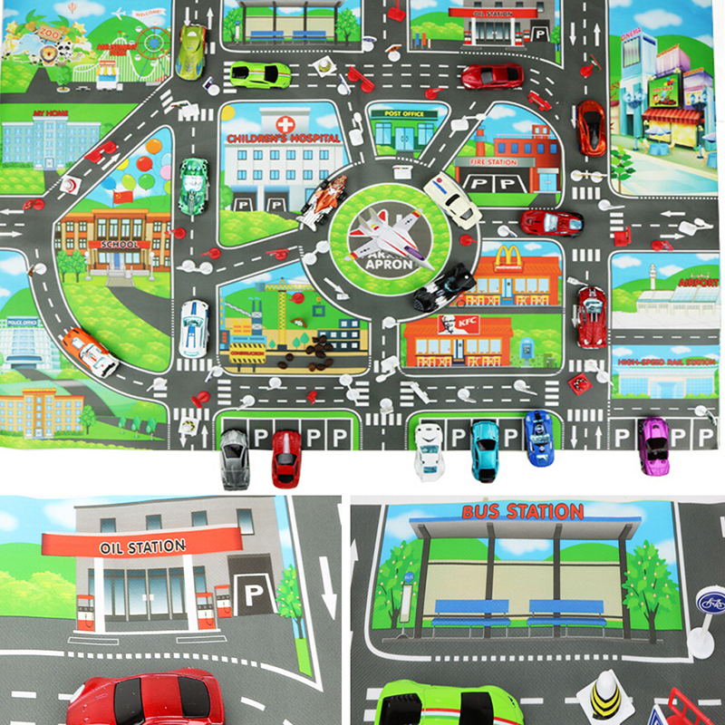 83*58CM Kids Toys City PARKING LOT Roadmap Map DIY Car Model Toys Climbing Mats English Version Gifts For Kids