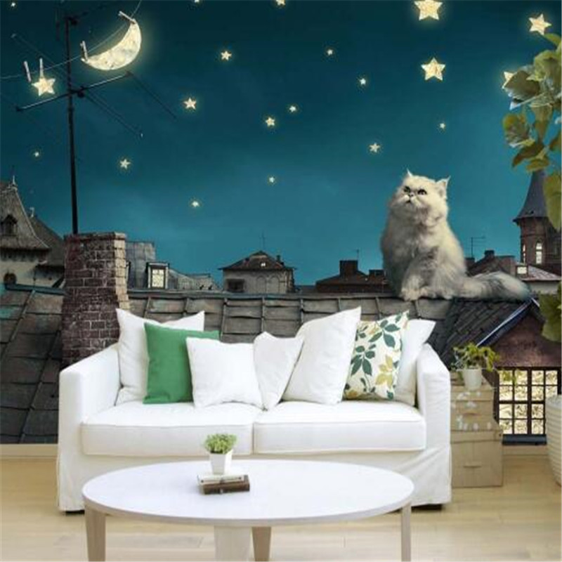 Starry sky Photo Wallpapers 3D Stereoscopic Cartoon Murals Wallpapers for Living Room Wall Papers Home Decor Bedroom Luminous circle mirror photo wallpapers 3d modern abstract murals wall papers home decor wallpapers for living room wall paste wall mural