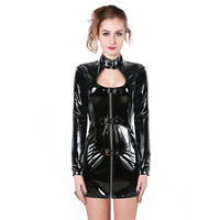 Sexy Black PVC Dress Latex Sexy Body Shaper Punk Dress Bodycon PU Leather Lingerie Woman Bondage Clubwear Clothes S XXL