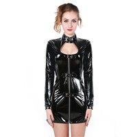 Sexy Black PVC Dress Latex Sexy Body Shaper Punk Dress Bodycon PU Leather Lingerie Woman Bondage Clubwear Clothes S XXL