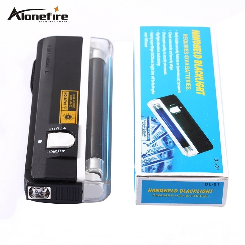 Alonefire QUALITY GOODS Handheld UV Leak Detector For uv light bank note test currency White LED flashlight torch for AA battery cylindrical led white light flashlight currency detection keychain silver 3 x lr44