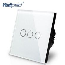 Best Vendita Wallpad Tocco Di Lusso di Vetro di Cristallo 3 Gang 1 Way EU UK Standard di Bianco di trasporto di Tocco Interruttore Della Luce del Sensore Pannello trasporto Libero