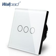 Panel de cristal táctil de lujo para pared, 3 entradas, 1 vía, UE, Reino Unido, Blanco estándar, Luz Sensor táctil, más vendido, envío gratis