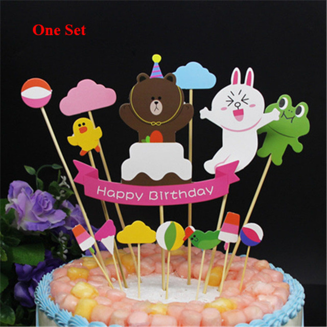 Children Kids Party Supplies Cupcake Toppers Birthday 18 Decoration Cake Flags Frog Duck Bear Rabbit Happy Topper