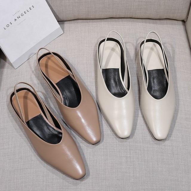 MLJUESE 2018 sandali delle donne del cuoio Della Mucca di colore beige slingback punta quadrata scarpe basse tacchi estate sandali del vestito da partito scarpe da sposa