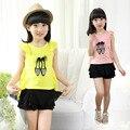 Nova Camisa Das Meninas do Verão Bonito Da Princesa Rendas Costura de Manga Curta T-shirts para Crianças crianças Roupas Rosa Branca de Impressão Amarelo