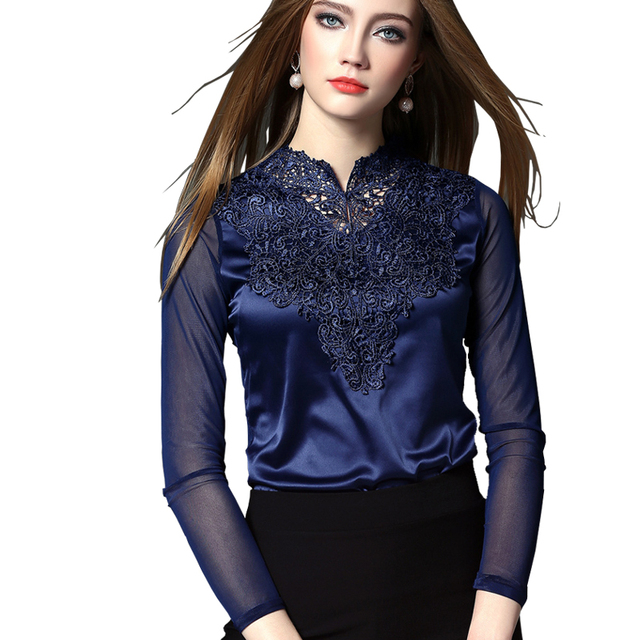 2018 New Crochet Lace Up Women Blouses Top Long Sleeve Blue White Black Wine Red Fall Autumn Ladies Fashion Blusa Mujer Plus 3XL