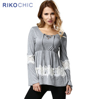 Plus Size T Shirt Women Lace Up Long Sleeve Autumn Spring Top Jumper Patchwork Lace Grey