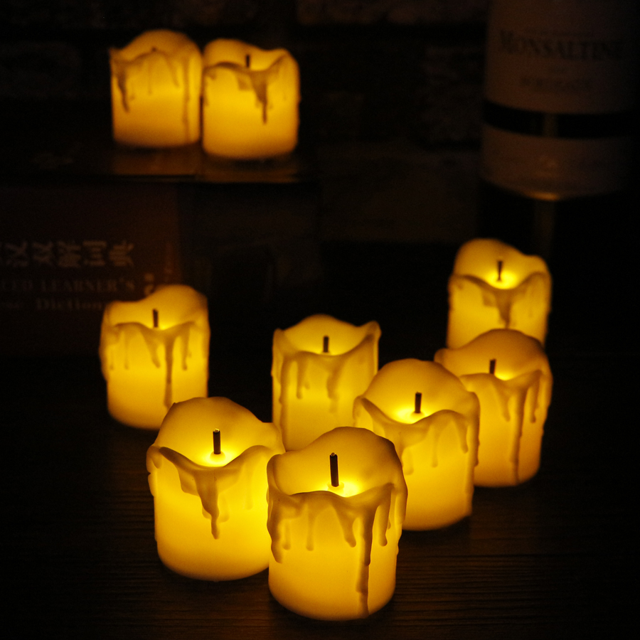 12pcs Flameless LED Tea Light Simulation Flame Flicker Candles Electronic Candle Lamps for wedding Party Decoration