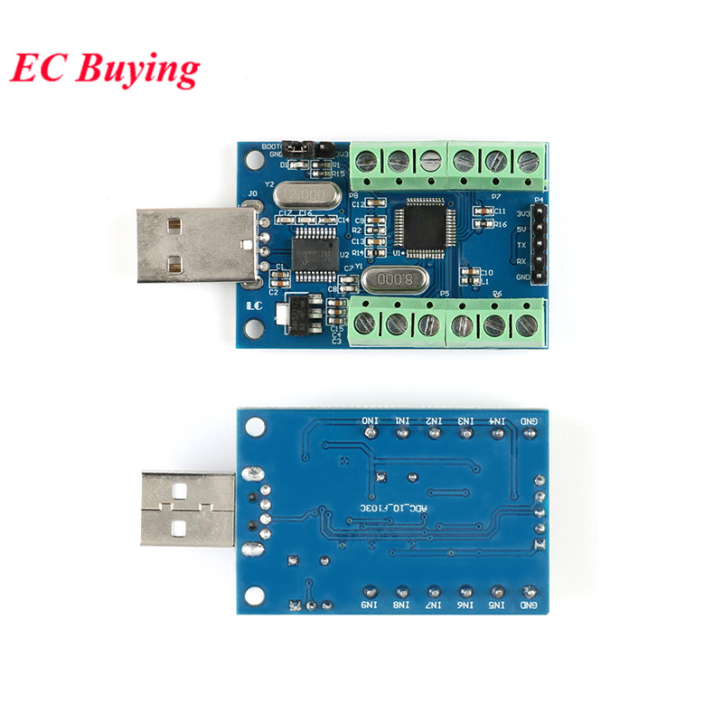 USB 10-Channel 12Bit ADC Module AD Data Collection Module AD Sample Data Acquisition STM32 UART Single Port Input STM32F103C8T6USB 10-Channel 12Bit ADC Module AD Data Collection Module AD Sample Data Acquisition STM32 UART Single Port Input STM32F103C8T6