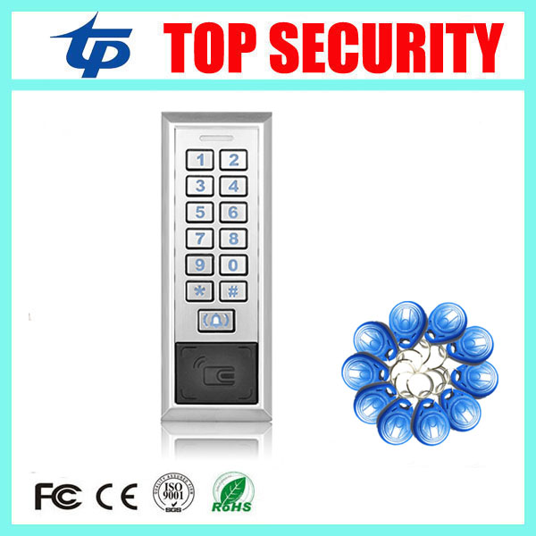 Surface waterproof metal key access control card reader standalone 8000 users single door 125KHZ RFID EM card access controller rfid ip65 waterproof access control touch metal keypad standalone 125khz card reader for door access control system 8000 users