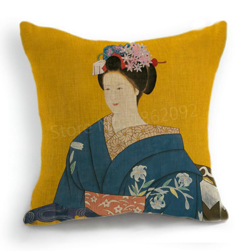 Japanese Cushion Covers Kimono Japanese Women Blue Geisha -1038