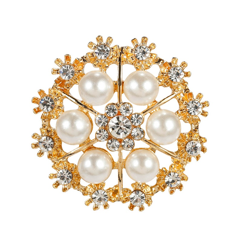 Fashion Women Large Brooches Lady Snowflake Imitation Pearls   Crystal Wedding Brooch Pin Jewelry Accessorise