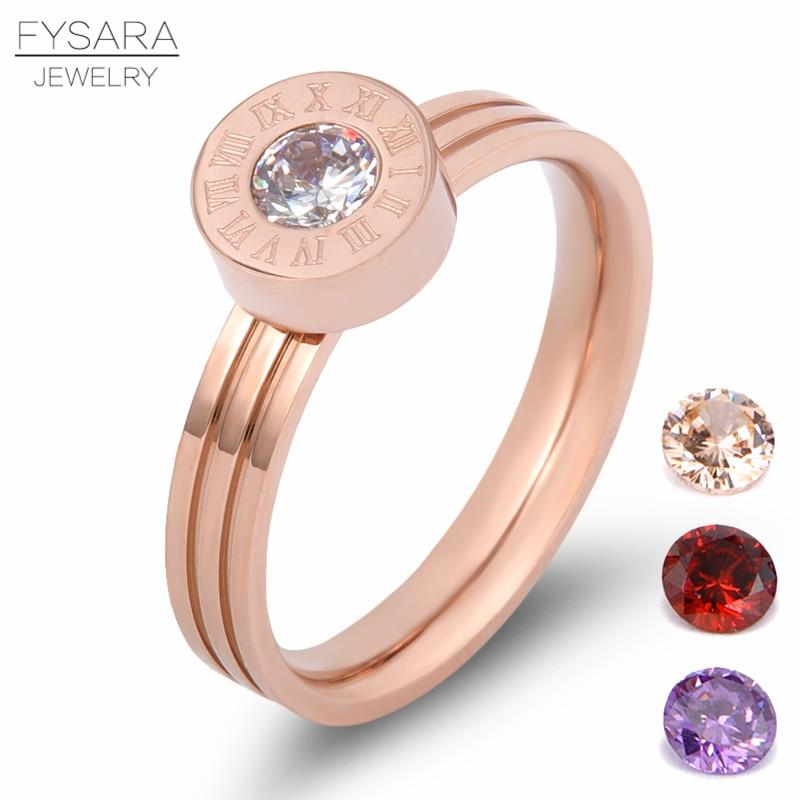 FYSARA Love Screw Crystal Stone Roman համարանիշներ Ring Jewelry 4 Color CZ Stone փոխարինելի օղակաձև չժանգոտվող պողպատից մատանի կնոջ համար