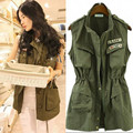 Korean City Hunter Women Vests Patch Pockets With Badges Vest Coat Fashion Sleeveless Coat Chalecos Mujer  5295