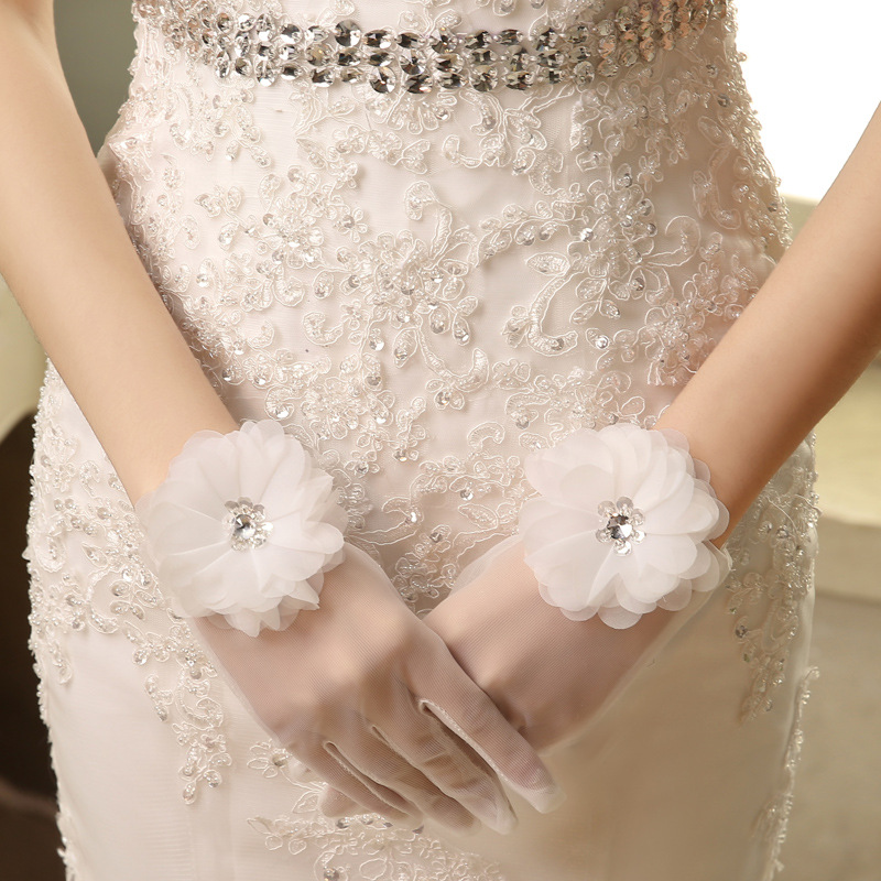 New sexy short lace women girl princess lady dancing performance white sexy finger gloves wedding gloves