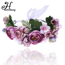 2018 Satin Fabric Floral Headband for Women Adjustable Flower Crown Beach Wedding Flower Headbands Flower Wreath Head Band