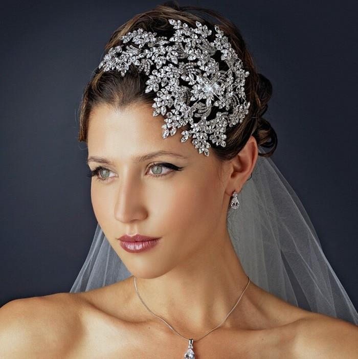 luxury full crystal headbands silver Leaf Crystal Wedding Tiara Crown Alloy Bridal Queen Princess Crown Hair