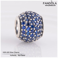 Pandulaso Diy Beads 925 Sterling Silver Jewelry Blue Crystal Pave Ball Charms Beads For Jewelry Making