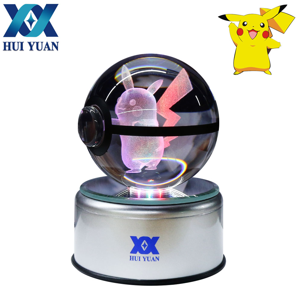 HUI YUAN Pikachu Crystal Ball 8CM Rotary Base USB & Battery Powered 3D LED Night Light Desk Table Lamp Decorations