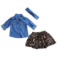 Family Matching Outfits 2017 New Hot Denim Shirt Leopard Skirt Mom And Daughter Clothes Parent Child