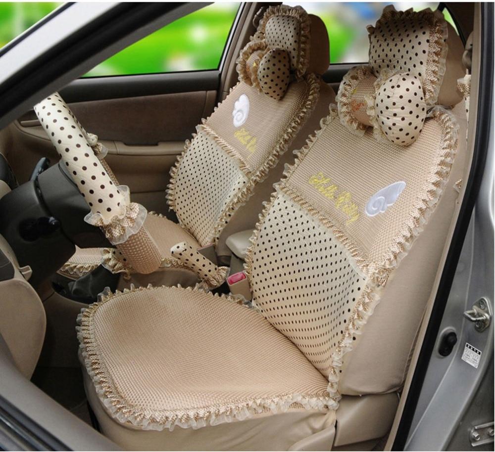 Car interior brown - Online Shop Hello Kitty 18pcs Elegant Angle Automotive Car Seat Cover Ice Silk Car Interior Car Steering Wheel Cover Car Neck Pillows Aliexpress Mobile