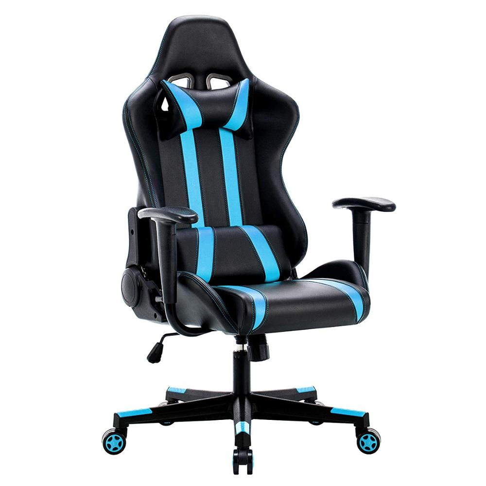 Racing Executive Chair Computer Chair PU Gaming Chair With Headrest Lumbar Cushion 135 Degree Reclining Angle GB