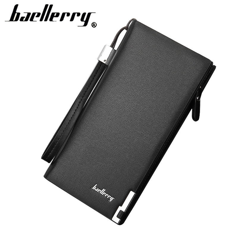 Fashion Business Men Wallet Solid PU Leather Long Multi Pockets Card Holder Coin Purse Casual Male
