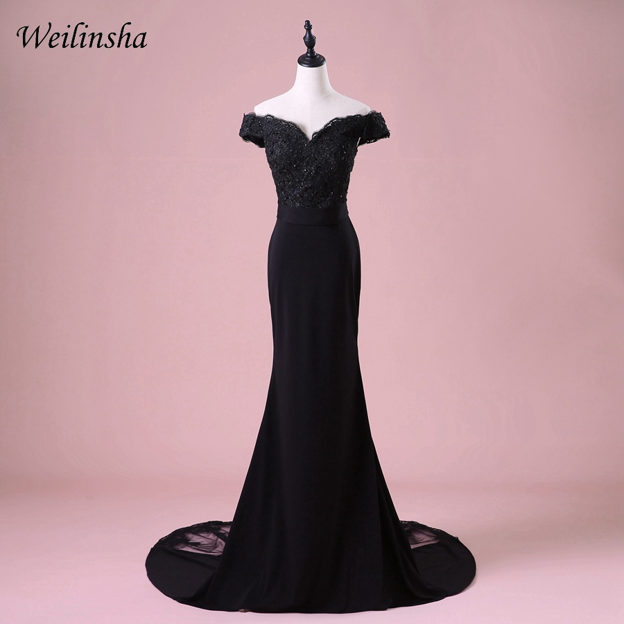 Weilinsha Mermaid   Evening     Dress   Off the Shoulder Sleeveless Applique Beading Sequined   Evening   Party Gowns Robes De Soiree