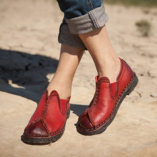 888141c91ea5 Genuine leather handmade women s shoes vintage national trend autumn flat  comfortable soft outsole casual shoes