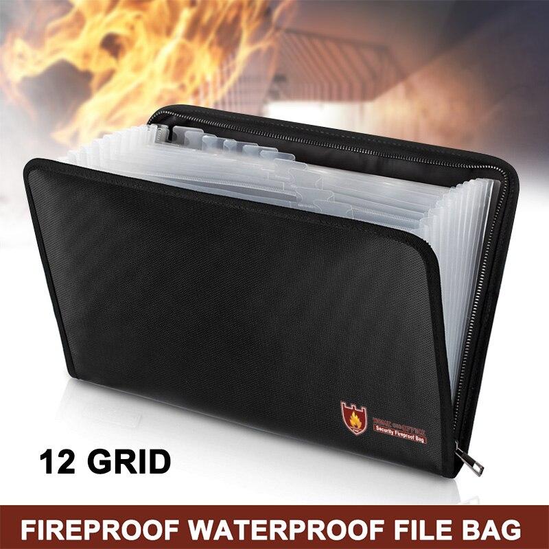 HOT Fireproof Document Bag 12 Pockets Waterproof Fire Resistant Safe Envelope For Cash Passport BUS66