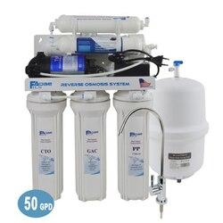 6-مرحلة تحت بالوعة 50G التناضح العكسي مياه الشرب نظام الترشيح مع مرشح القلوية بعد ph قيمة من 8.00-9.5